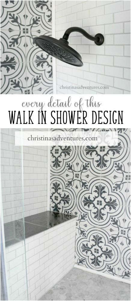 Every detail of this semi-DIY walk in those design.  Includes tile sources, plans, shower head details, grout color, sealing the tile, and so much more!