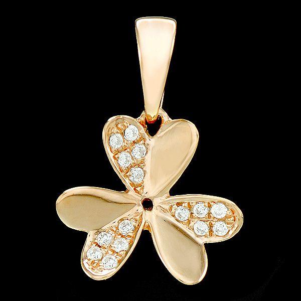 Sierra 9K玫瑰金 迷你三葉鑽石吊咀 15顆碎鑽共0.059克拉 金重0.56克 9K Rose Gold Pendant with 15 Diamonds (0.059 Carat) BRP20008r ...