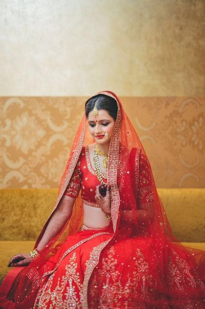 red bridal lehenga, bridal lehenga, lehenga with gota and stone work, bright red…