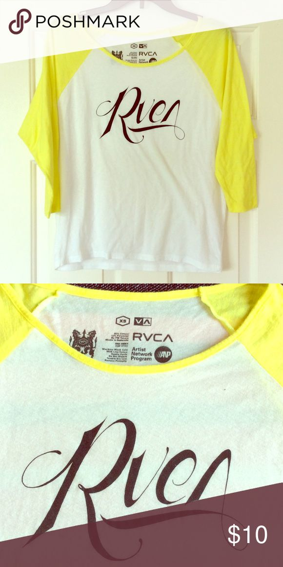 RVCA Slouchy Raglan 3/4 Sleeve boyfriend Skate Tee Oversized XS, cotton blend. White, neon yellow 3/4 length sleeves Baseball t shirt. Black logo graphics on front. Raglan, thin material. RVCA Tops Tees - Short Sleeve
