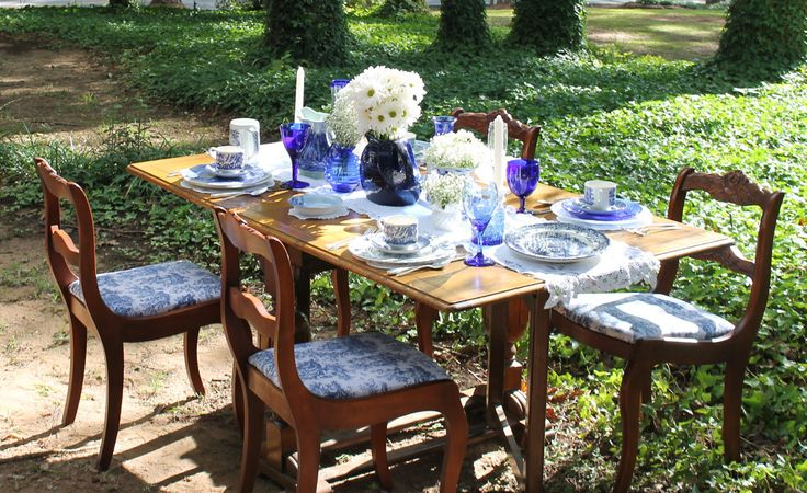 blue and white dishes dessert table cobalt - Google Search
