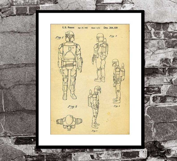 Boba Fett Action Figure with Launching Missile - Star Wars - Toy Patent Print - Art Print - Wall Art - Movie Poster by FADEGrafix on Etsy https://www.etsy.com/listing/225662037/boba-fett-action-figure-with-launching