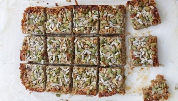 Refined Sugar - Free Granola Bars / I Quit Sugar (coconut oil, nut butter, rice malt syrup, rolled oats, shredded coconut, Vanilla Vital Protein powder, walnuts or almonds, sunflower seeds,  pumpkin seeds, sesame seeds) 1-2 tablespoon chia seeds.