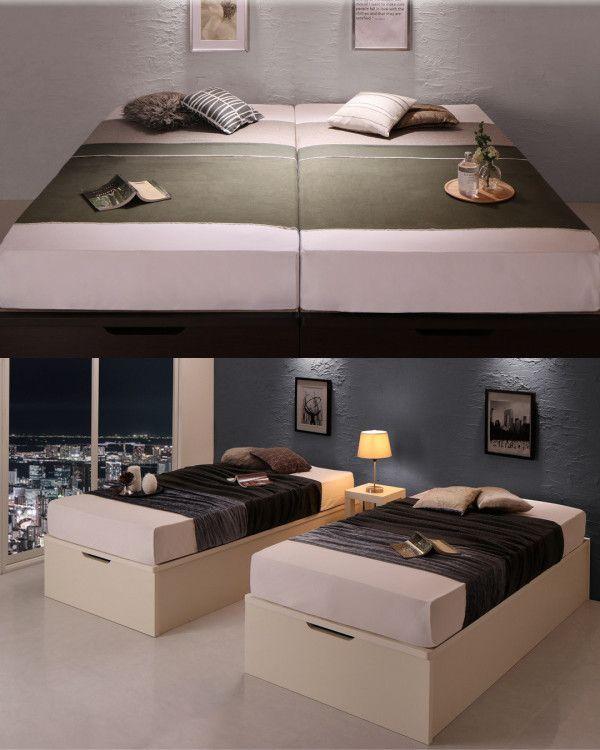 Cervin は跳ね上げ式収納ベッドを2台つなげた ご夫婦向け ご家族向けのベッドです ベッド 寝室 寝室インテリア 和モダンインテリア 収納ベッド 照明 国産 日本製 跳ね上げ式ベッド ファミリーベッド クイーンサイズ Interior Design Furniture Interior