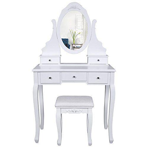 meuble coiffeuse avec miroir grise