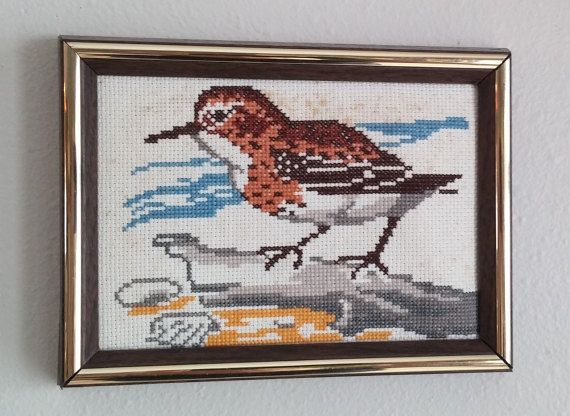 Vintage Cross Stitch Sandpiper Picture by RememberWhenStore
