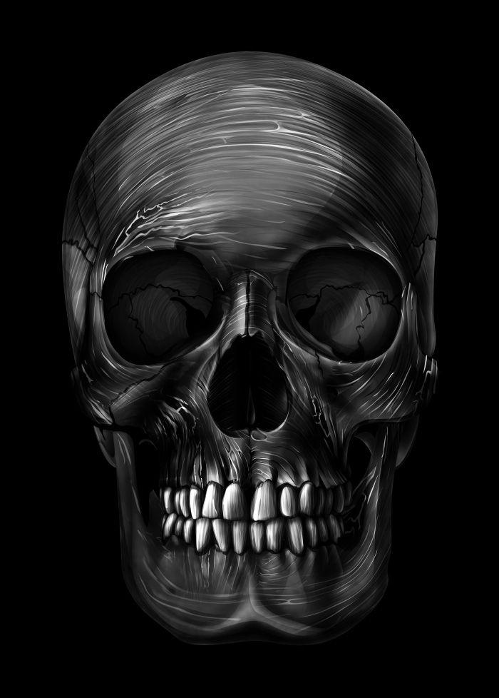 картинки череп на черном фоне