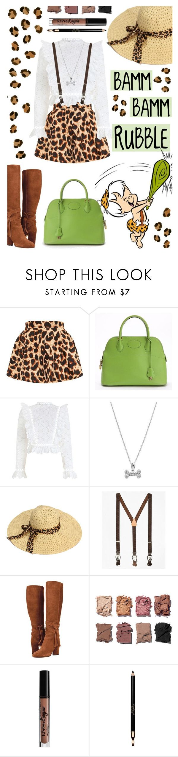 """BAMM-BAMM RUBBLE"" by gpatricia ❤ liked on Polyvore featuring Hermès, Zimmermann, Saks Fifth Avenue, Brooks Brothers, Illamasqua, Charlotte Russe and Clarins"