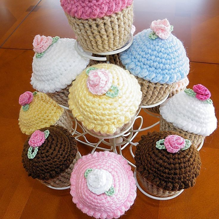 Cupcake Pincushion, Crocheted Cupcake, Play Food. $8.00, via Etsy.