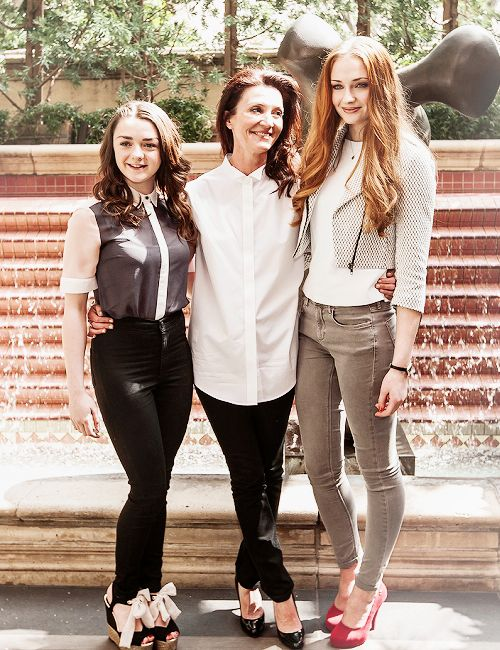 Maisie Williams, Michelle Fairley, and Sophie Turner: all of the Stark women.
