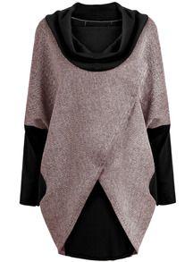 Grey Black Long Sleeve Loose Coat