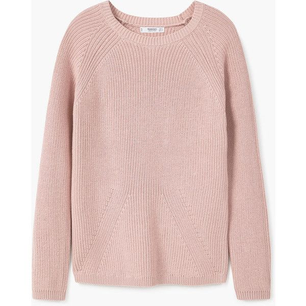MANGO Ribbed Cotton-Blend Sweater (£30) ❤ liked on Polyvore featuring tops, sweaters, round top, pink sweater, cable sweater, mango tops and chunky cable knit sweater