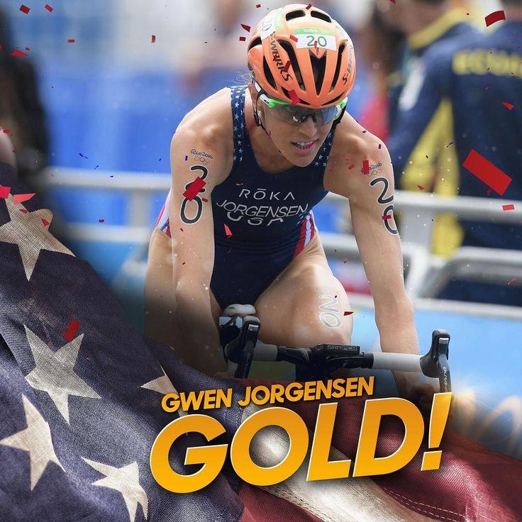 08.2016 Gwen Jorgensen wins the first ever triathlon gold medal for Team USA! #Rio2016