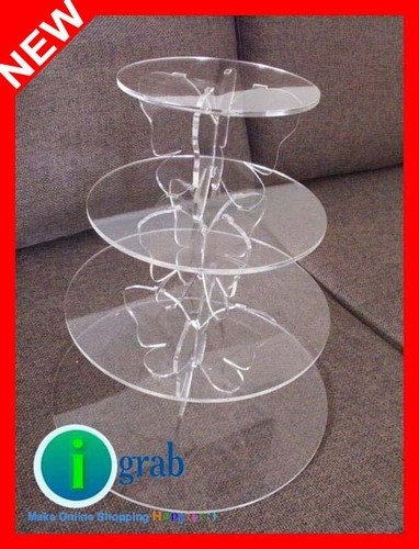 4 tier Butterfly clear acrylic cupcake stand cake holder wedding party Birthday ebay