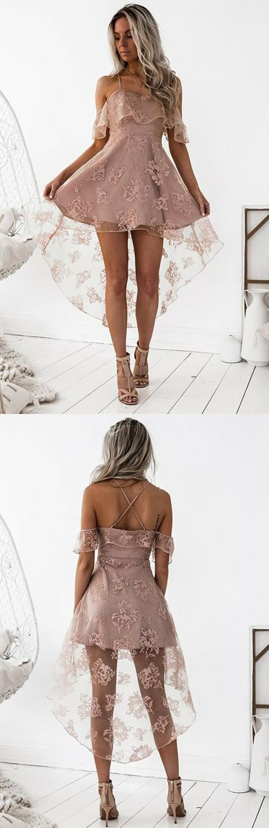 2019 Homecoming Dresses A Line Spaghetti Straps Lace Asymmetrical US$ 149.00 KKPGKCCGCS