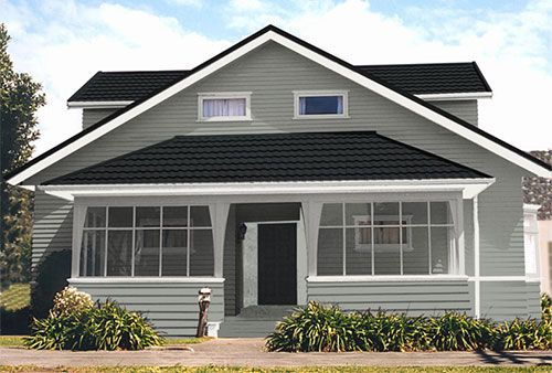 Bungalow home  suggested colour scheme based on Resene Half Delta walls
