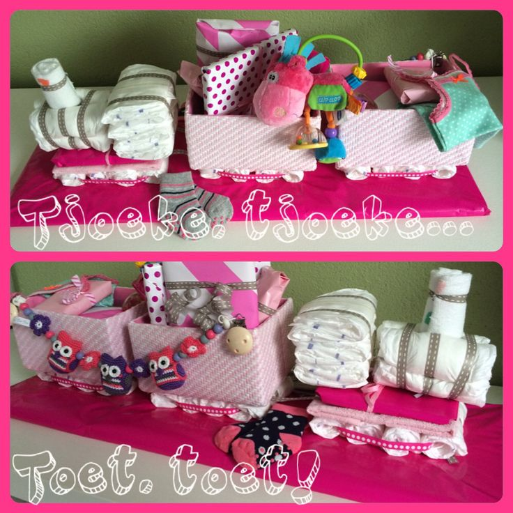 ❤️ Made by Sa'Sa - #luiertaart #trein #baby #meisje #geboorte #roze #cadeau
