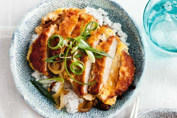 Japanese Katsudon (Crumbed Pork & Egg Rice Bowl) Recipe here: http://www.taste.com.au/recipes/35417/katsudon+crumbed+pork+egg+rice+bowl