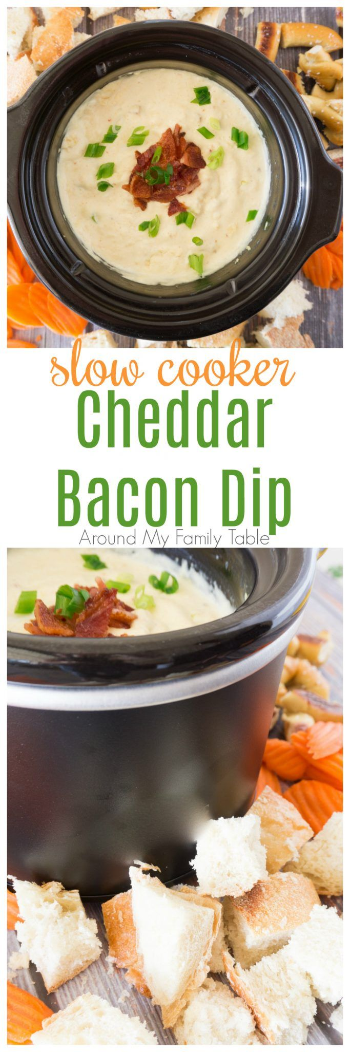 My Slow Cooker Cheddar Bacon Dip is the perfect after school snack or appetizer for the big game. Heck, I make it on the weekends to go with lunch sometimes...it's that good!