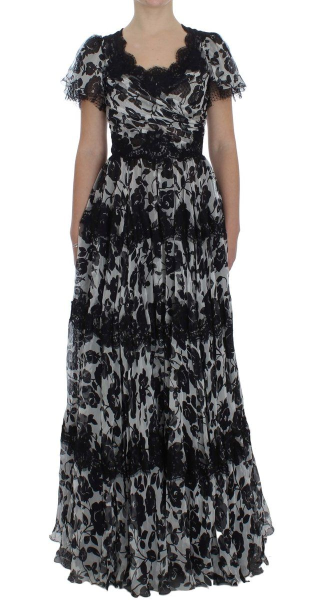 86063397d50 Dolce and Gabbana Dress. Black Silk Floral Lace Ricamo Ball Maxi Dolce  Gabbana dress. Discover our exclusive D G dress collection.