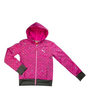 Another great find on #zulily! Fuchsia Polka Dot Zip-Up Hoodie - Girls #zulilyfinds