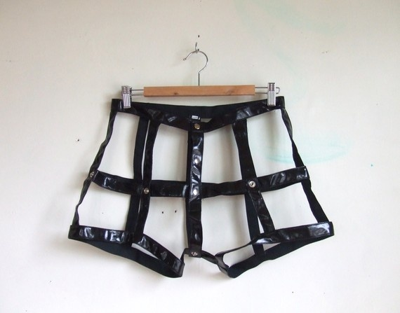 vintage vinyl leather black cage shorts by storyofthings on Etsy