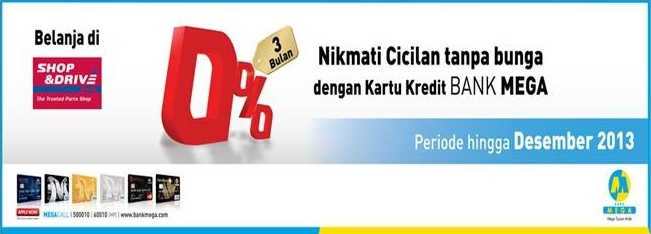 Promo Cicilan 0% Bank Mega    Nikmati cicilan tanpa bunga dengan kartu kredit Bank MEGA.