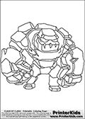 Coloring page with a Golem from Clash of Clans App. This coloring page show a Clash of Clans Golem Dark Elexir troop, an end-game tank-styled troop with a massive amount of hitpoints that deal damage to ground structures and units. Print and color this Clash of Clans page that is drawn by Loke Hansen (http://www.LokeHansen.com) based on a Clash of Clans iPhone 5 App screenshot or game promotion.