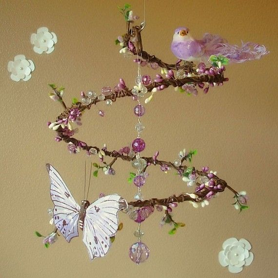 Mobile for over the crib with bird, butterfly, beads & berries