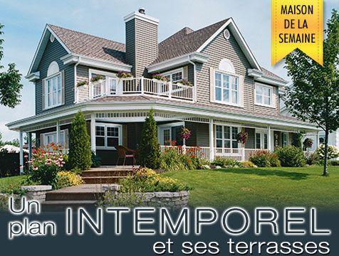 maison de la semaine plan no 2837 de style champ tre avec grande terrasse casa pinterest. Black Bedroom Furniture Sets. Home Design Ideas