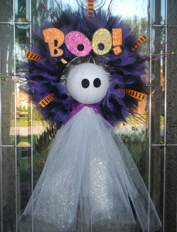 """BOO!! """"Did he scare you?""""    No, not this bootiful lil' ghost. He is here to welcome all of your trick or treaters with sparkly white/silver"""