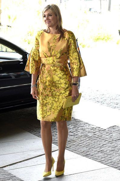 Alors qu'elle célèbre ses 45 ans, la reine Maxima a participé au congrès de la fédération des fonds de pension hollandais qui avait lieu à La Haye. Tenue de Max