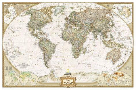National Geographic - World Executive Map, Enlarged & Laminated Poster Photo by National Geographic at AllPosters.com