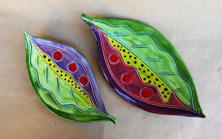 Leaf plates, set of 2 pottery plates, spoon rests, contemporary serving dishes, handmade, multi layers glaze, non toxic glaze, folk art by RobinChladDesigns on Etsy