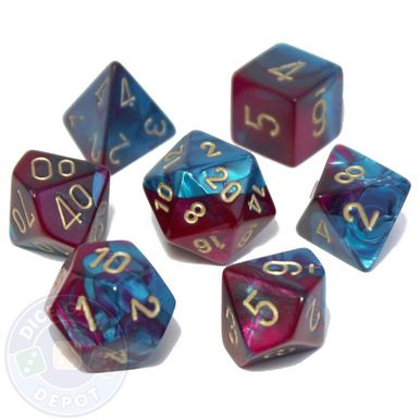 This set of Gemini dice is a mix of purple and teal colors and contains the following: 1 four-sided dice (d4) 1 six-sided dice (d6) 1 eight-sided dice (d8) 1 ten-sided dice (d10) 1 percentile dice (d%