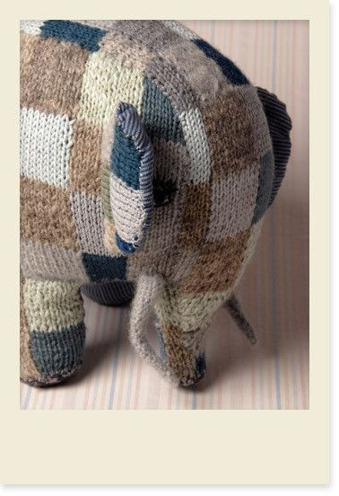 lawhimsy:    Hand Knit Patchwork Elephant