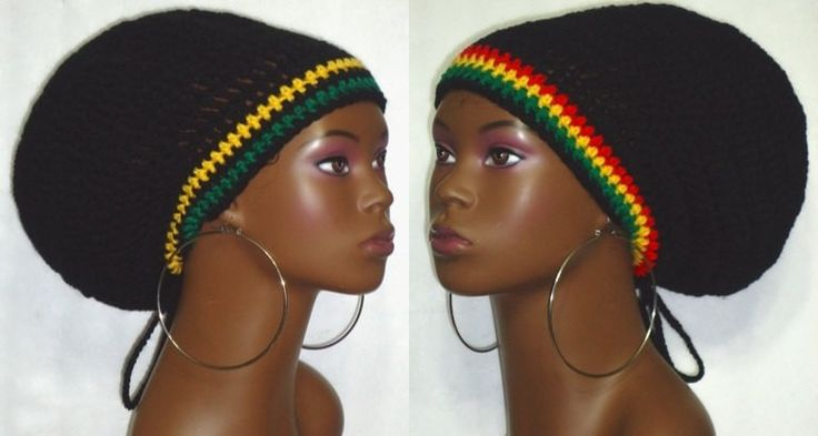 Made to Order Cultural Crochet Large Tam with Drawstring Dreadlocks Rasta Jamaica Red Black Yellow Green by Razonda Lee Razondalee