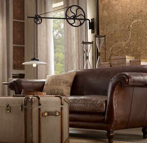 brown leather couch & trunk: Bedrooms Redo, Restoration Hardware, Living Rooms, Leather Sofas, Design Ideas, Master Bedrooms, Adjustable Pulley, Pulley Sconces, Brown Leather Couch