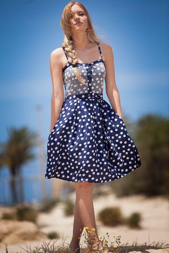"""Polka Dots Sommerkleid, kurze Tupfen Viskose Kleid, Boho chic, """"Lili net"""" Kleid mit Taschen, lässige Kleidung, böhmischen Kleid, Kleid"""