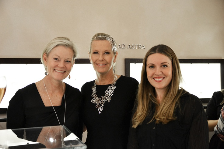 Swedish jewelry designer Efva Attling in the middle