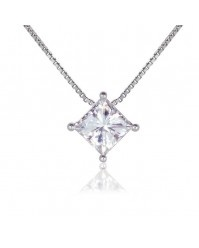 Ruth - 0.40-2.10ct Square Brilliant Moissanite Solitaire Pendant, 14K White or Yellow Gold