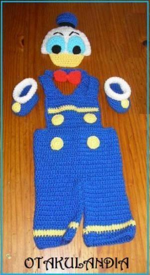 ¿Te gusta y quieres ver más? ¡Síguenos!: https://www.facebook.com/otakulandia.es/  Pato Donald disfraz bebé (cosplay) realizado a mano en crochet ¡Perfecto para sus primeras fotos!