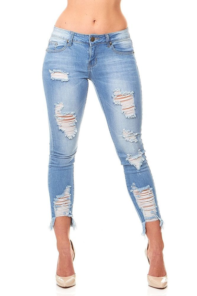 7c05c7b62f0c5 fashion VIP Jeans Ripped Distressed Skinny jeans for women Junior   Plus  size 5 Colors