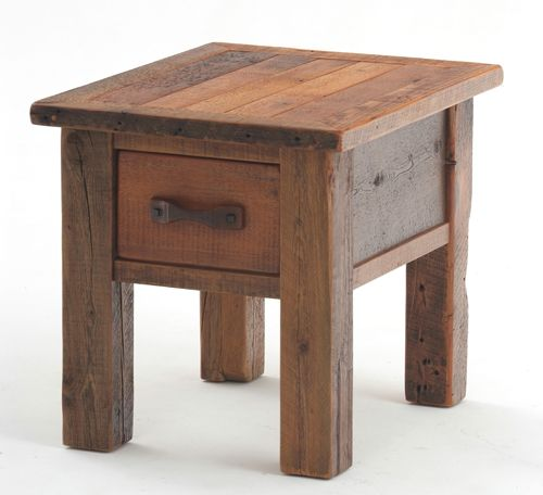 This simple farm style barnwood end table / nightstand with one drawer is a study in simplicity. Built with an aged reclaimed wood top and spacious drawer this crafted table is exceptional strong and utilitarian like the barn of its origin. Tuck this table next to our mission style barnwood bed and you have the