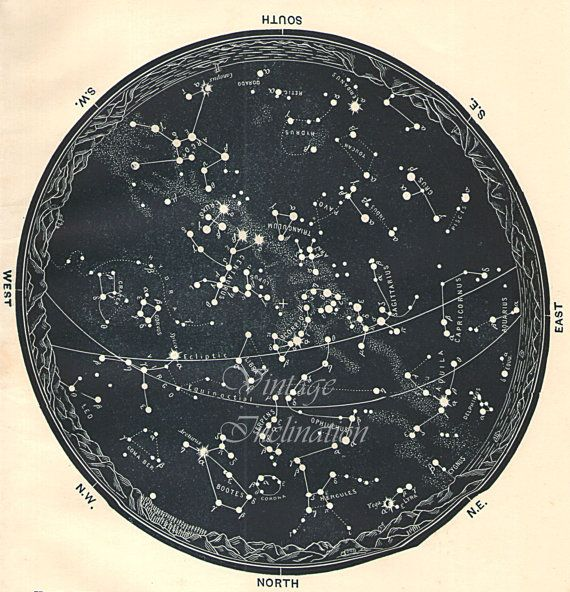 1942 BEAUTIFUL Dark Blue Colored Vintage Star Chart  Southern Stars antique Celestial Maps, Constellations Planets Zodiac