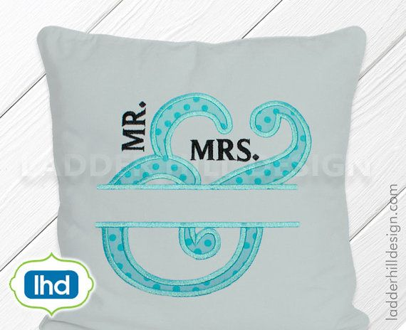 Mr.  & Mrs. Wedding Applique Monogram  Mr.  and Mrs. - Wedding Embroidery Applique