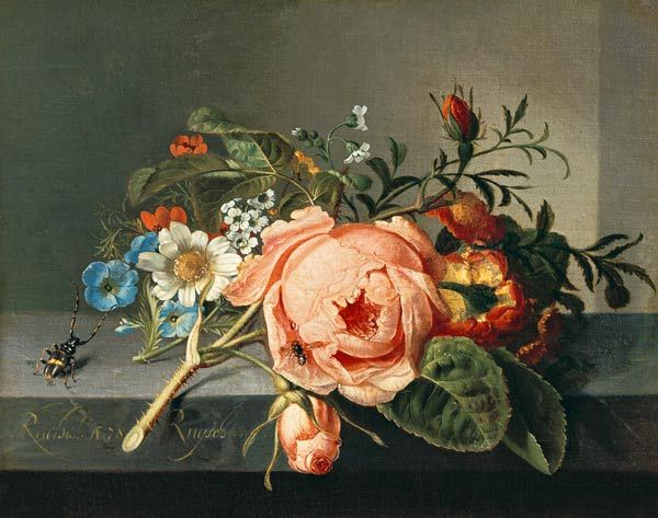 Rachel Ruysch-Rosenzweig mit Käfer und Biene