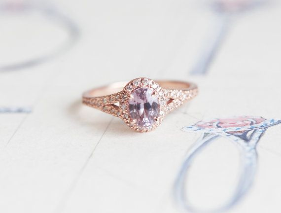 Peach Sapphire Ring Peach Pink Sapphire Engagement by capucinne