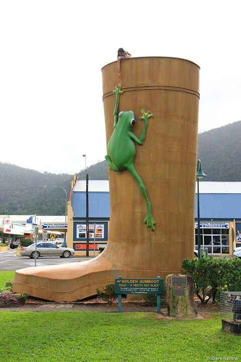 QLD - Tully - The Big Gumboot - The Big Gumboot (officially called the Golden Gumboot) is located in Tully, about 50km south of Innisfail. The story behind the Big Gumboot involves a long standing battle between Tully and Babinda to the north, for the title of 'wettest town in Australia'.
