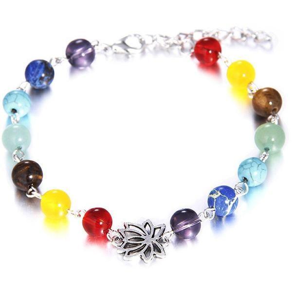7 Chakra Lotus Natural Stone Beads Charm Bracelet. Unisex, Good Matching for Men and Women